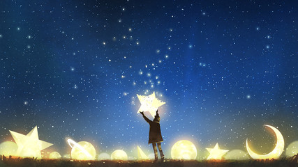 beautiful scenery showing the young boy standing among glowing planets and holding the star up in the night sky, digital art style, illustration painting Wall mural