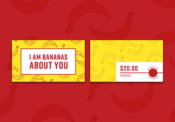 Gift Card with Banana Illustrations