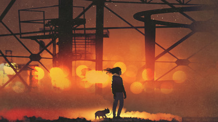 man and his dog standing against the old industrial building, digital art style, illustration painting