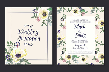 Wedding Invitations with white anemone flowers. Invitation cards in light pink theme. Vector illustration.