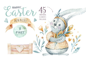 Hand drawn watercolor happy easter set with bunnies design. Rabbit bohemian style, isolated boho illustration on white.