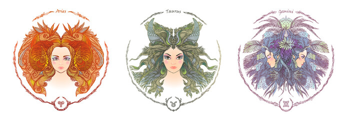 Zodiac sign. Portrait of a woman. Aries, Taurus, Gemini