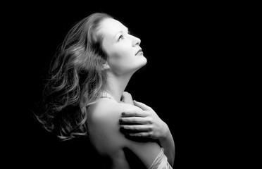 Classic female portrait. Black and white photo of sensual woman