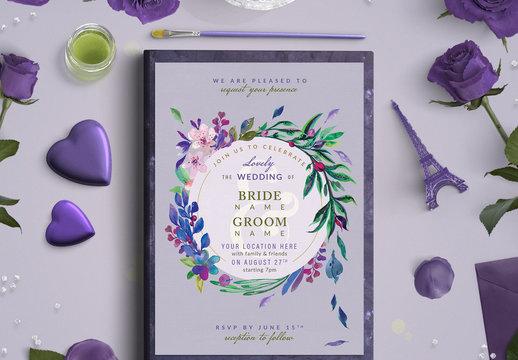 Pink and Purple Floral Wreath Wedding Invitation 1