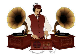 DJ retro style with mustache, vest, bow tie and headphones among vintage gramophones isolated on white background