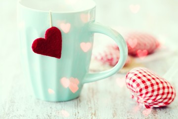 Valentine's mug with handmade heart