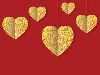 блестящие золотые сердца