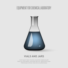 A conical flask with blue liquid. Equipment for chemical laboratory. Transparent glass flask Vector illustration
