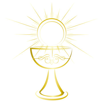 First holy communion symbol - gold chalice.