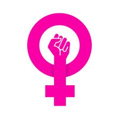 Icono plano feminismo con sombra en fondo blanco