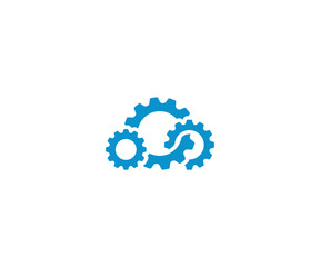 Cloud gear logo template. Cloud computing vector design. Cogwheel cloud illustration