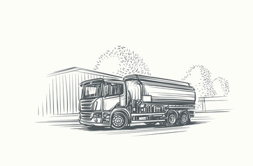 Euro Truck Cistern illustration. Vector.