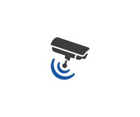 Security camera logo template. CCTV camera vector design. Wifi symbol illustration