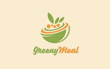 Healthy organic food logo. Vegetarian vector symbol. Vegan food sign. Vegan inn. Green vegan meal restaurant logo. Salad dish.
