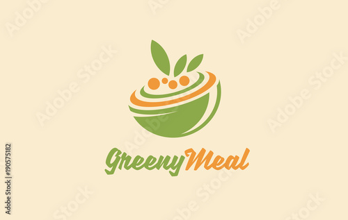 Healthy Organic Food Logo Vegetarian Vector Symbol Vegan Food Sign