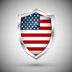 USA flag on metal shiny shield vector illustration. Collection of flags on shield against white background. Abstract isolated object