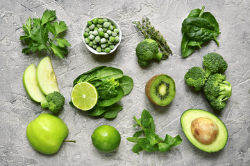 Variety of green fruits and vegetables.Top view.
