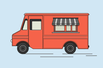 Colorful ice cream truck in flat retro style