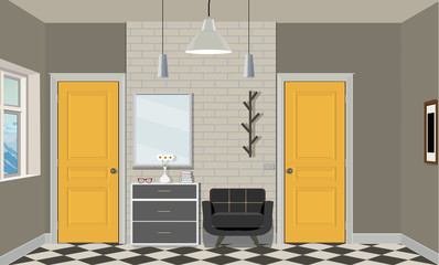 Illustration of a room with yellow doors, a chair, books, lamp and commode. Interior of the room with furniture.