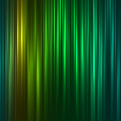 Vector abstract background of aurora borealis light effect, colorful yellow and green shining waves, decorative design. Vertical undulating, pulsing rays. Rainbow coil imitation. Polar glow radiance.