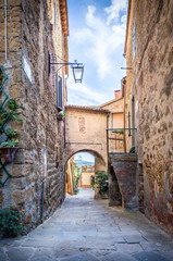 Beautiful street of Montisi, Tuscany