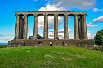 National Monument of Scotland, Calton Hill, Edinburgh, United Kingdom. The monument is build on Calton Hill which offers you a beautiful view of the city.
