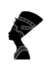 Egyptian silhouette icon. Queen Nefertiti. Vector portrait Profile isolated on white background.