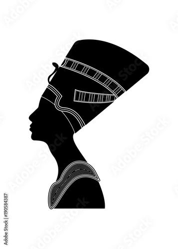 Egyptian silhouette icon  Queen Nefertiti  Vector portrait Profile
