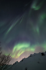 Northern lights aurora show on a cold arctic night