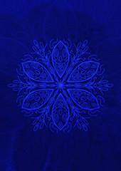 Sfondo texture orientale blu con decorazione mandala
