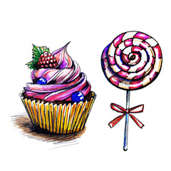 set of confectionery, hand drawing, on white