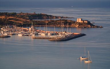 Aluminium Prints Port Marina of Villasimius, a famous tourist resort in the south of Sardinia, Italy.