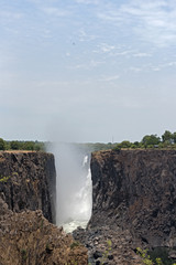 Victoria falls with very little water flow, Zambia