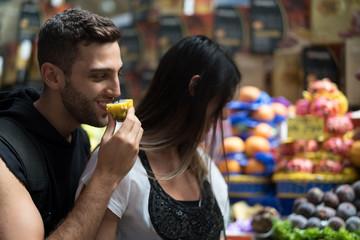 Couple Tourist in in Municipal Market (Mercado Municipal) in Sao Paulo, Brazil
