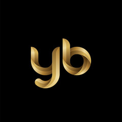 Initial lowercase letter yb, swirl curve rounded logo, elegant golden color on black background