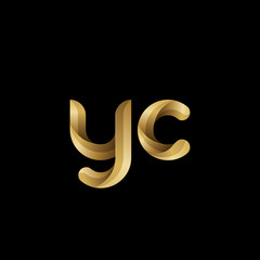 Initial lowercase letter yc, swirl curve rounded logo, elegant golden color on black background