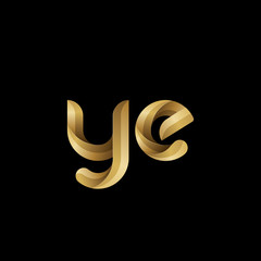 Initial lowercase letter ye, swirl curve rounded logo, elegant golden color on black background