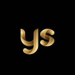 Initial lowercase letter ys, swirl curve rounded logo, elegant golden color on black background