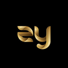 Initial lowercase letter zy, swirl curve rounded logo, elegant golden color on black background