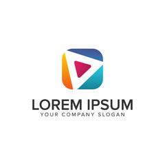 Play multimedia logo design concept template. fully editable vector