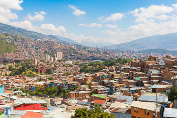 Panorama of the city of Medellin on a sunny day