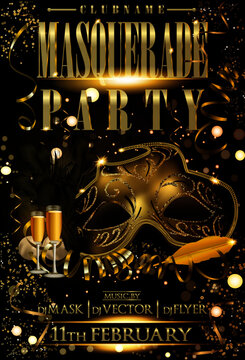 masquerade gold flyer party with lights serpentine confeti champagne stars