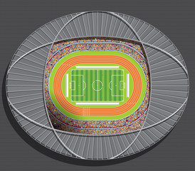 Aerial view of a soccer field drawn with white line on green background with spaces for publicity and a running track around the court and spectators filling the entire stadium. Vector image