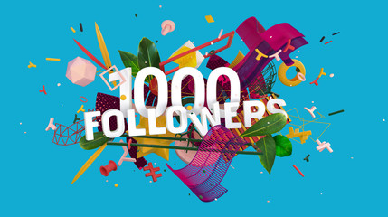1000 followers greeting card
