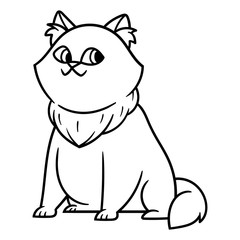 Cartoon Fat Cat Black and White Outline