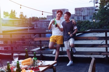 Two young men drank beer