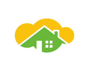 cloud house housing home residence residential residency real estate image vector icon 1
