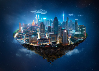 Fantasy island floating in the air with modern city skyline and lake garden, Night scene .