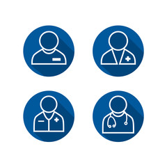 Doctor Icon Set - Some with Stethoscope & some with pocket