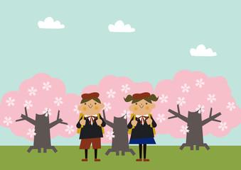 制服を着た子供のイラストレーション。卒業式。入学式。